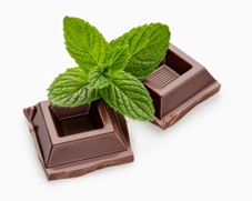 chocolate with mint leaves