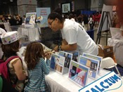 children looking at photos