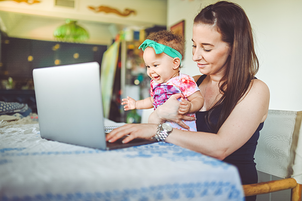 mother and baby on telehealth call