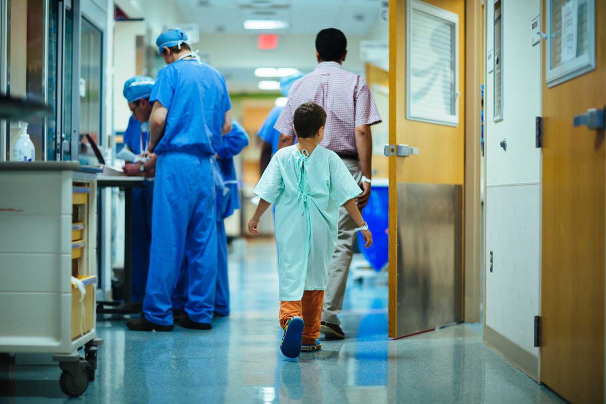 Boy walking, Children's Vascular Anomalies Clinic; diagnoses, treats vascular conditions, including vascular birthmarks.