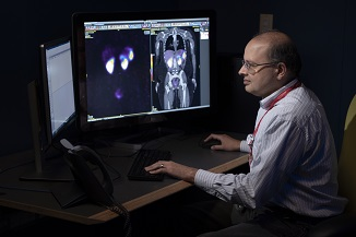 Doctor looking at patient scans on a computer