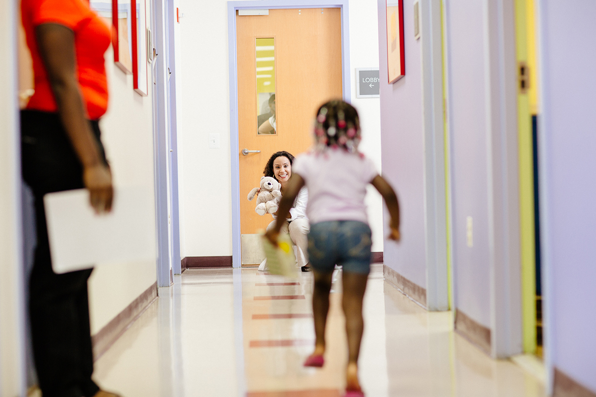 child running in hallway