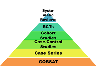 To help practitioners appraise medical literature, Bernhard Wiedermann, M.D., MA, suggests determining where it fits on this pyramid.