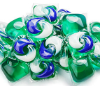 Pile of liquid detergent pods