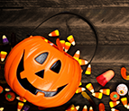 Halloween Jack o Lantern pail with candy