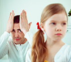 frustrated father with daughter