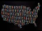 drawing of United States map with stick figure people inside