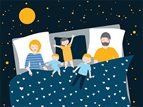 illustration of a family sleeping