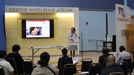 Dr. Alexis Bakos of the U.S. Department of Health and Human Services Office of Minority Health speaking at sickle cell educational event at Children's National