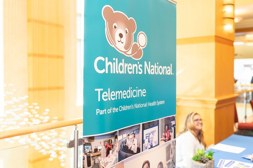 Children's National Telehealth banner at the 2019 Pediatric Societies meeting in Baltimore.