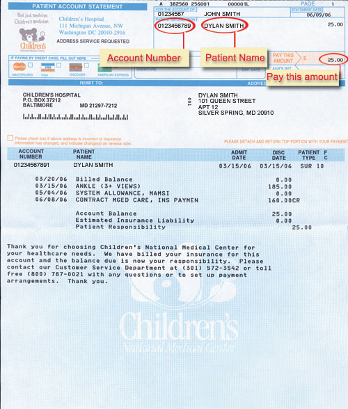 Sample of Blue Hospital Bill