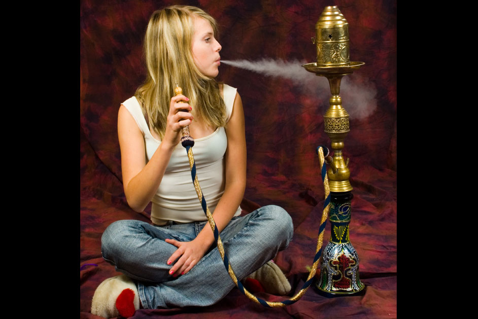 girl smoking hookah